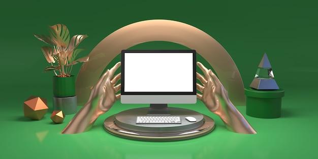 Zielony zestaw studyjny z brązowymi elementami i pustym ekranem komputera