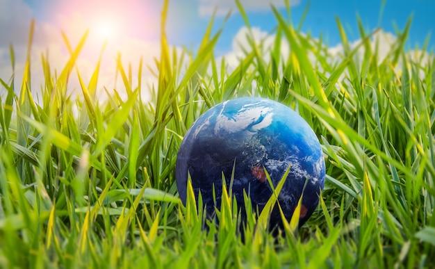 Ziemia kula planety w trawie przyroda globalne ocieplenie ocal środowisko