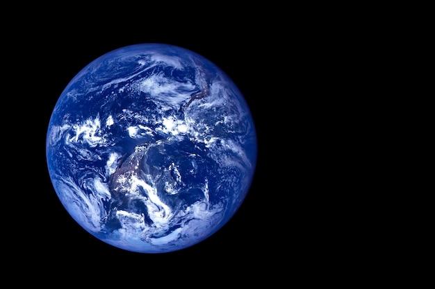 Ziemia na ciemnym tle. elementy tego obrazu dostarczyła nasa. w dowolnym celu.