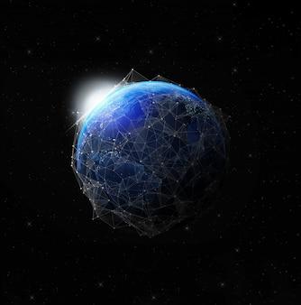 Ziemia nocą z kosmosu dla globalnej komunikacji