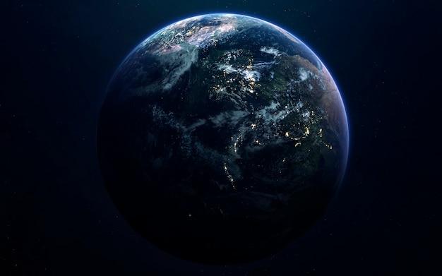 Ziemia. obraz z kosmosu, fantasy science fiction w wysokiej rozdzielczości, idealny do tapet i druku. elementy tego zdjęcia dostarczone przez nasa