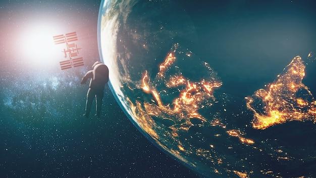 Ziemia oświetlała sylwetkę spacerowicza na międzynarodowej stacji kosmicznej na orbicie planety. jasne słońce