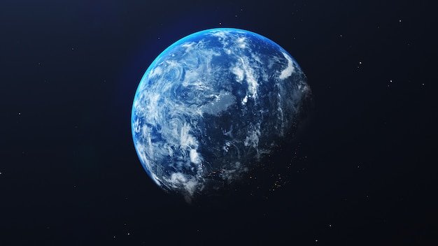 Ziemia w kosmosie z błyszczącym wschodem słońca na tle wszechświata i galaktyki. koncepcja środowiska przyrody i świata. nauka i świat. fantastyczna atmosfera nieba. renderowania 3d ilustracji