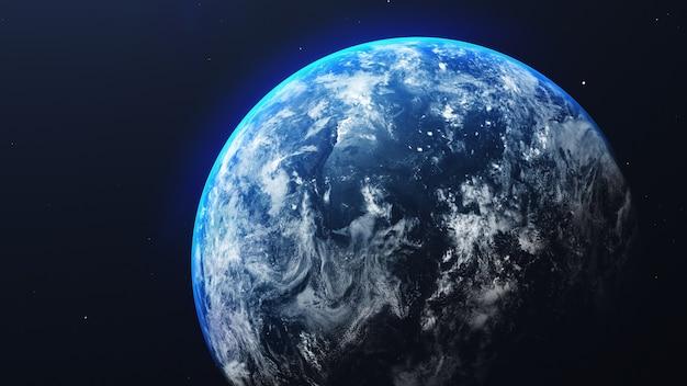 Ziemia w kosmosie z błyszczącym wschodem słońca na tle wszechświata i galaktyki. koncepcja środowiska przyrody i świata