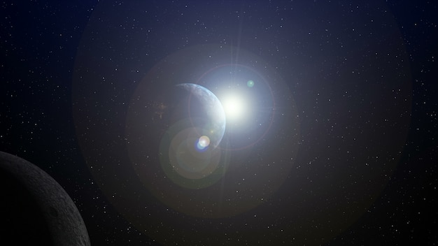 Ziemia z wschodem słońca przy horyzontem 3d renderingiem.