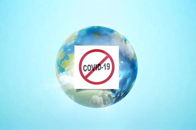 Ziemia ze znakiem zapobiegania koronawirusa