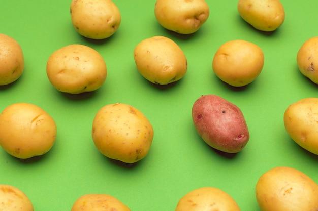 Ziemniak na kolorowym wzorze ziemniaka.