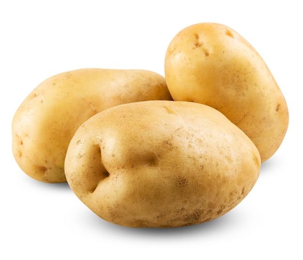 Ziemniaki na białym tle