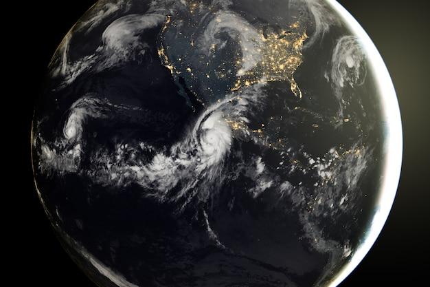 Ziemski wschód słońca z kosmosu. elementy tego zdjęcia dostarczone przez nasa