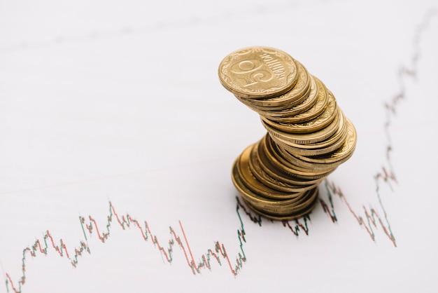 Zig zag złotej monety stos nad pieniężnym rynku papierów wartościowych wykresem