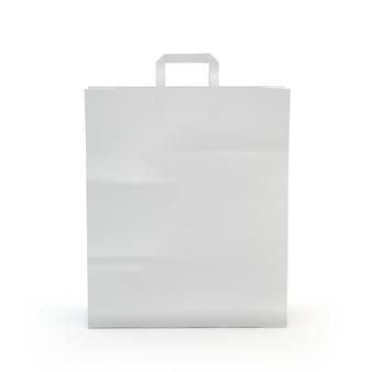 Zilustruj papierową torbę, odizolowane, białe tło