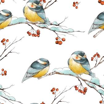 Zima boże narodzenie vintage wzór z rustykalnymi gałęziami, czerwone jagody, sikorki ptaków.