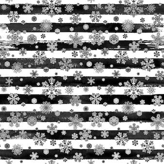 Zima czarno-biała akwarela ręcznie rysowane paski wzór wydruku z pięknymi płatkami śniegu