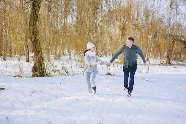 Zima dwa spacer tło wakacje