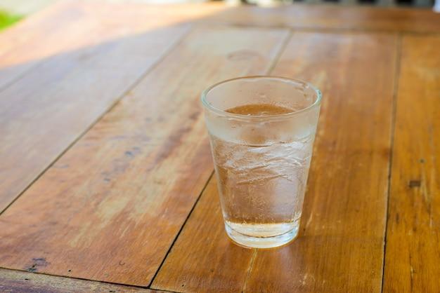 Zimna woda pitna i lód w szkle