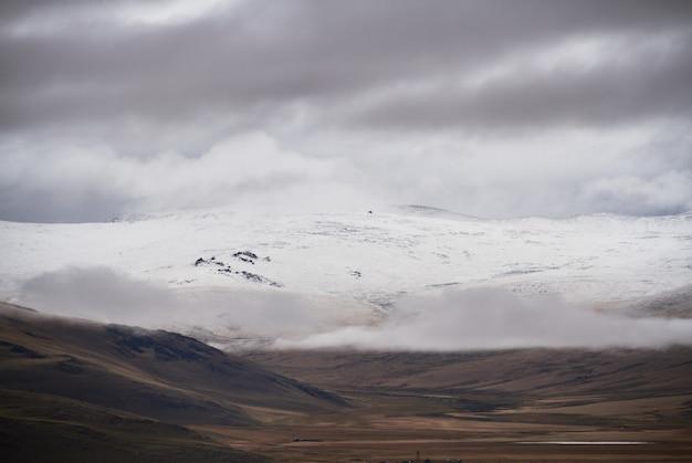 Zimno pochmurna pogoda w obszarze stepowym. płaskowyż ukok ałtaju. bajeczne zimne krajobrazy. ktoś w pobliżu