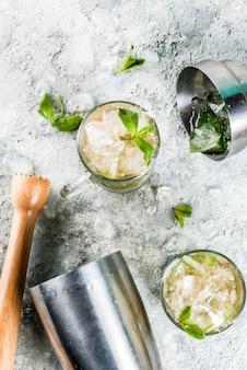 Zimny letni napój, koktajl miętowy julep