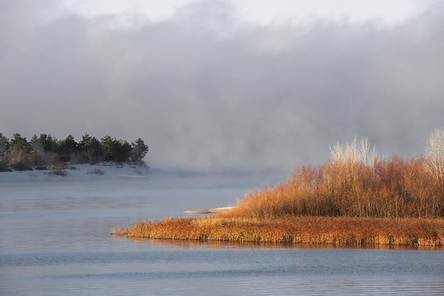 Zimowa mroźna mgła na niezamarzniętej rzece. zielone choinki i trawa na brzegach.