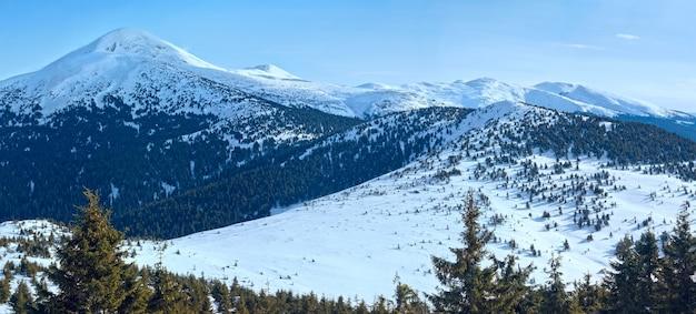 Zimowa panorama górska na goverla mountain, ukraina, karpaty.