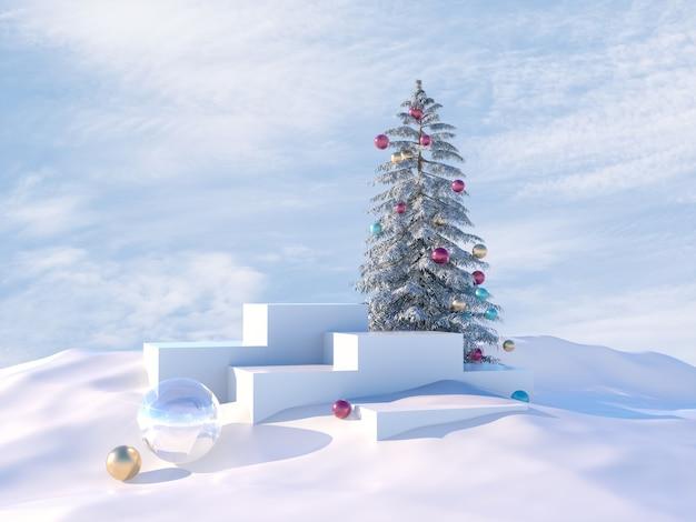 Zimowa scena bożonarodzeniowa z choinką i podium.