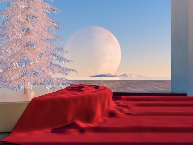 Zimowa scena bożonarodzeniowa z geometrycznymi formami w naturalnym świetle dziennym