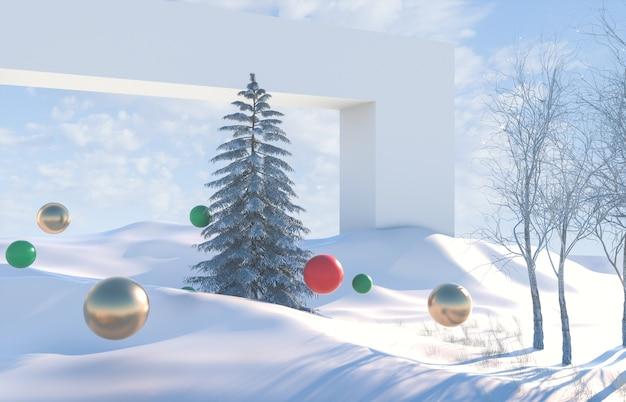 Zimowa scena krajobrazowa z geometrycznymi kulkami
