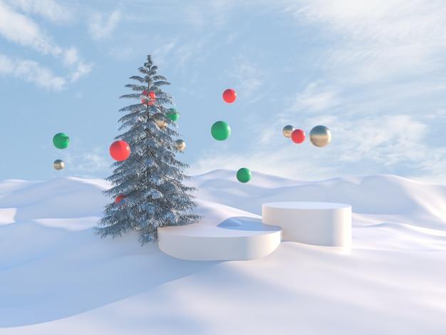 Zimowa scena z choinką i podium