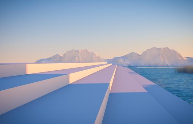 Zimowa scena z geometrycznymi formami, podium schodów z widokiem na jezioro