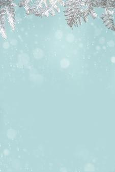 Zimowe i świąteczne świąteczne tło śnieżne ze srebrnymi gałęziami dekoracji xmas,