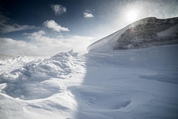 Zimowe ośnieżone pole na tle słonecznego dnia