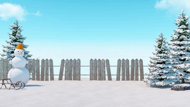 Zimowe pole śniegu z bałwanem, saniami, drewnianym płotem i mrożoną sosną, renderowanie 3d