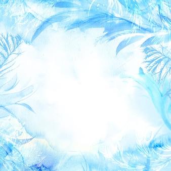 Zimowe tło akwarela. ręcznie malowane mrożone ramki z białym copyspace. tekstura mrozu.