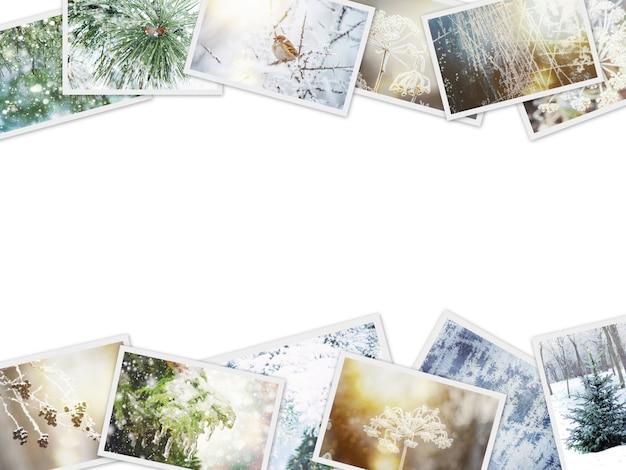 Zimowy kolaż zdjęć. selektywna ostrość. natura zima