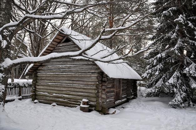 Zimowy krajobraz. biały, ośnieżony dom z bali.
