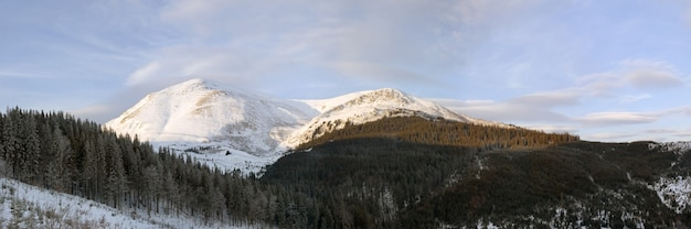 Zimowy krajobraz górski o świcie (ukraina, karpaty, góra petros)