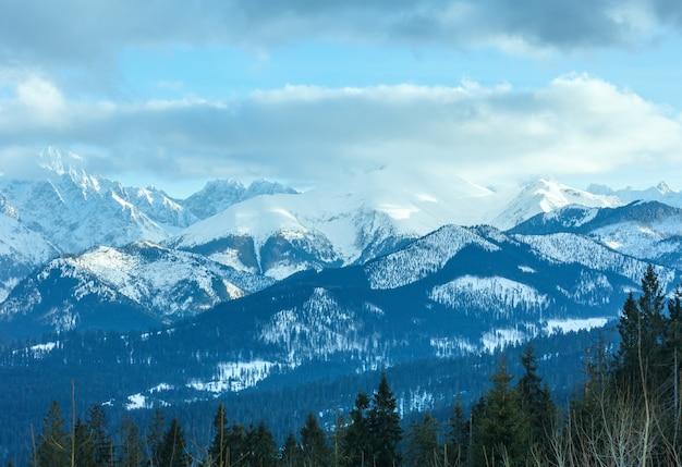 Zimowy krajobraz górski z lasem jodłowym na zboczu (słowacja, tatry wysokie).