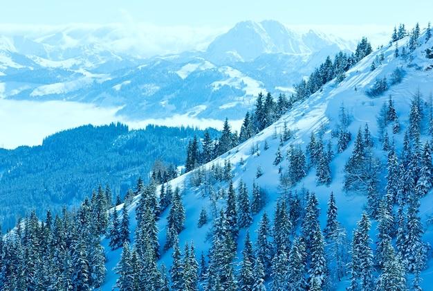Zimowy krajobraz górski z ośnieżonymi świerkami na zboczu