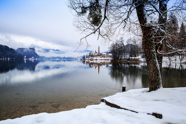 Zimowy krajobraz jezioro bled podróż słowenia europa jezioro bled niesamowite atrakcje turystyczne