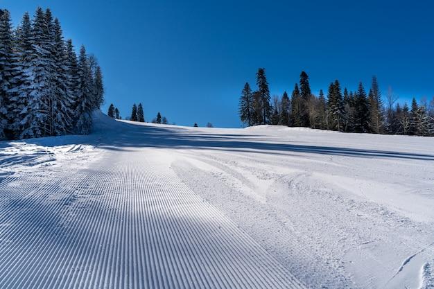 Zimowy krajobraz ośrodka narciarskiego krasnaya polyana.