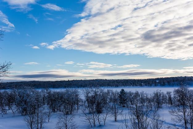 Zimowy krajobraz w nuorgam, laponia, finlandia