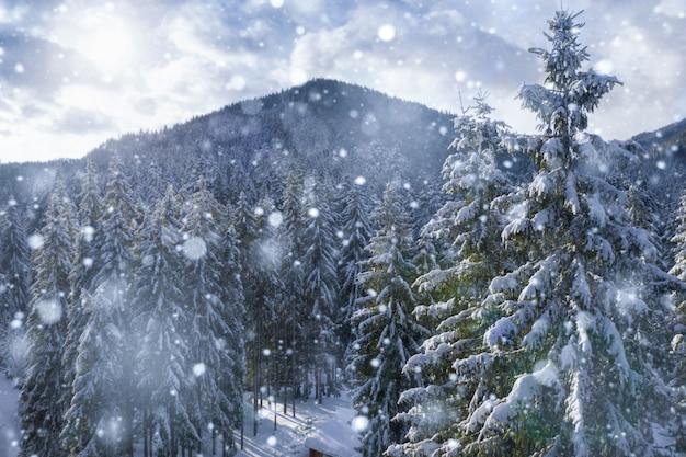 Zimowy krajobraz w pięknych ośnieżonych górach widok z lotu ptaka