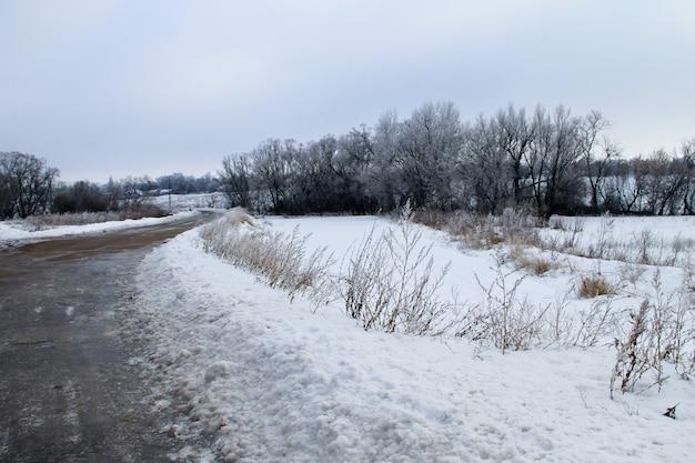 Zimowy krajobraz wiejski