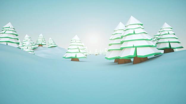 Zimowy krajobraz z kreskówkowymi drzewami, śniegiem i błękitnym niebem. renderowanie 3d