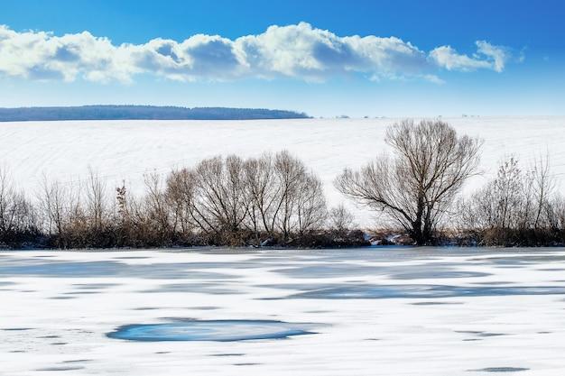 Zimowy krajobraz z pokrytą lodem rzeką przy słonecznej pogodzie
