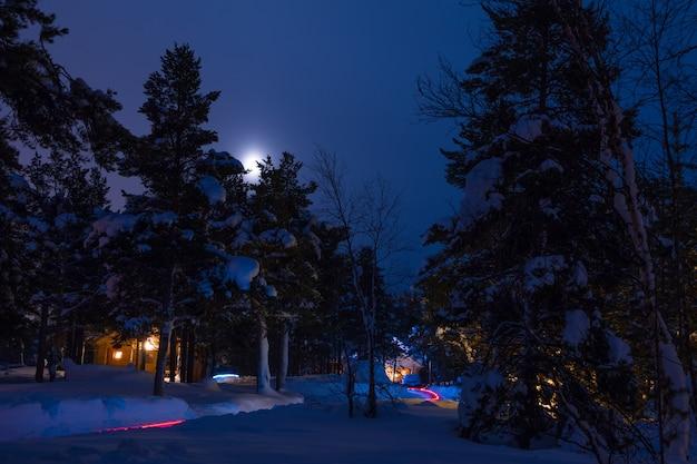 Zimowy las. dużo śniegu. nocne lampki choinkowe małej wioski