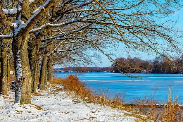 Zimowy słoneczny dzień, zimowy krajobraz z rzeką i lasem
