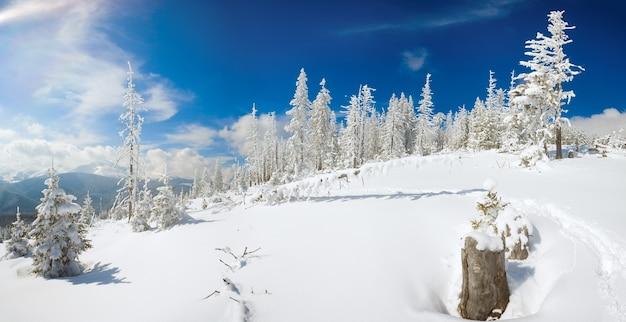 Zimowy spokojny górski krajobraz