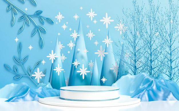 Zimowy wesołych świąt luksusowy wyświetlacz podium do prezentacji produktu renderowania 3d