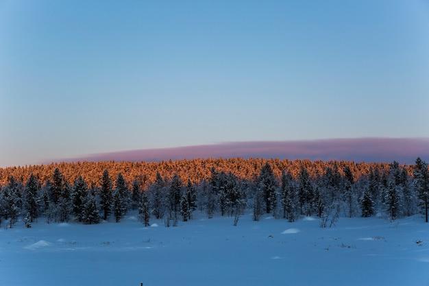 Zimowy zachód słońca w nuorgam, laponia, finlandia