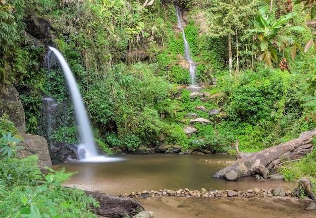 Zimozielony wodospad leśny na górze doi suthep w chiang mai, tajlandia